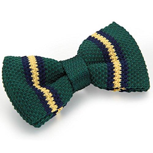 JewelryWe Herren Fliege Schleife Krawatte Binder Schlips Querbinder Bow Tie Stricken Gestrickt Streifen Verstellbar für Hochzeit Silvester Business Smoking #M