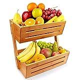 Hossejoy Soporte de canasta de frutas de bambú de 2 niveles para encimera y soporte decorativo para frutas,verduras,bocadillos,artículos para el hogar y mucho más