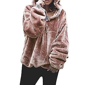 Mujer Caliente y Esponjoso Tops Chaqueta Suéter Abrigo Jersey Mujer Otoño-Invierno Talla Grande Hoodie Sudadera con Capucha riou (Rosa, S)