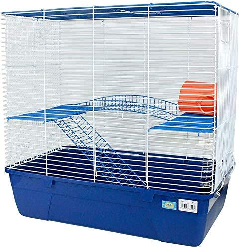 Jaula Hámster 2 Pisos con Escalera Jaula para Hamster Jaula jerbos Degus Jaula para pequeños roedores (Azul)