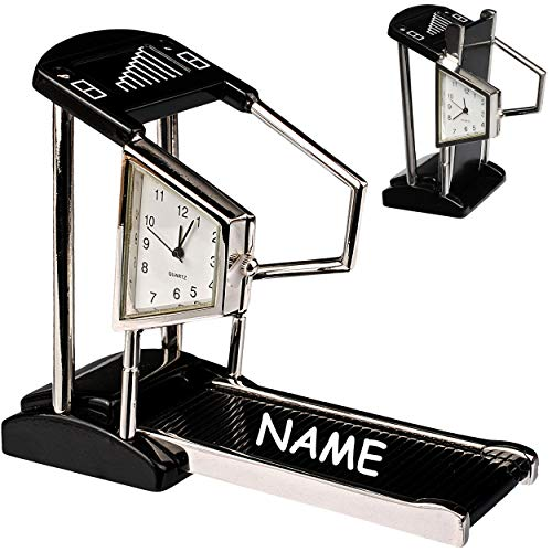alles-meine.de GmbH kleine - Tischuhr / Miniatur - Uhr - Fitnessgerät / Laufband - inkl. Name - aus Metall - 10 cm - batteriebetrieben - Analog - Batterie - schwarz - Zahlen Steh..