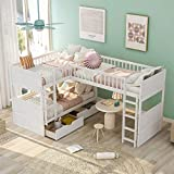 L-Shaped Bunk Beds for 3, Twin Over Twin Bunk Bed with a Loft Bed Attached, Solid Wooden Triple Bunk Bed with Drawers for Kids, Teens, Adults (White)