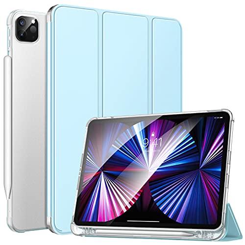 MoKo Funda Compatible con Nuevo iPad Pro 11 2021, iPad Pro 3.ªGeneración[Admite Carga Apple Pencil]Funda de Cubierta con Soporte y Carcasa Trasera de TPU Translúcido para iPad Pro 11' 2021, Azul Claro