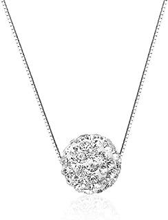 Lzz Fashion Ladies 925 Sterling Silver Necklace Diamond Pendant Necklace Halo Solitaire Cubic Zirconia Full Diamond Crystal Ball Pendant Necklace