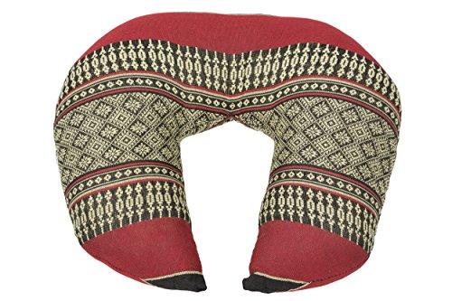 Coussin pour le cou (Appui Tête), Rembourrage de Kapok, Thai Design traditionnel, rouge-noir