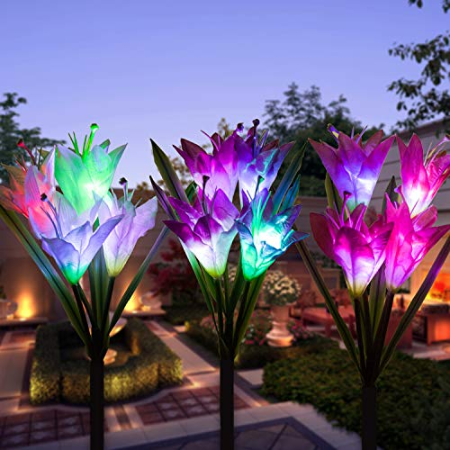 Outdoor Solar Garden Stake Lights - Multi-Color Changing Flower Lights for Pathway, Lawn (3pack Lily)