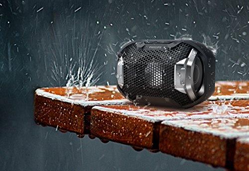 Philips Audio Enceinte Bluetooth portable SB300B/00 (Basses volumineuses, Bluetooth, lumière multicolore, fonction mains-libres, anti-chocs et étanche) Noir
