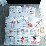 xcxbxb Copripiumino SetStruttura del Corpo Umano Morbido Lenzuola Set Biancheria Letto con Federe(50x75cm)-(W:155 x L:220cm)