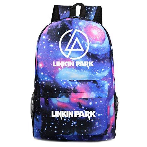 Linkin Park Freizeitrucksack Mode Wilder Rucksack Schüler klassische einfache Schoolbag große Kapazitäts-Trend Travel Rucksack Leinwand Wasserdicht Leichte Laptop Rucksack College Wind zufälliger Ruck