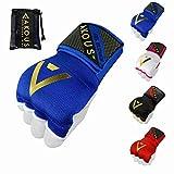 AKOUS WHO DARES WINS Envolturas de boxeo para deportes, artes marciales mixtas y artes marciales, vendas elásticas para usar dentro de guantes de boxeo para soporte largo de muñeca (azul, mediano)