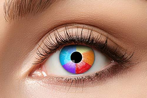 Zoelibat Farbige Kontaktlinsen für 12 Monate, Regenbogen, 2 Stück, BC 8.6 mm / DIA 14.5 mm, Jahreslinsen in Markenqualität für Halloween, Fasching, Karneval, bunt
