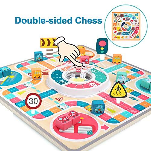 TOP BRIGHT Brettspiele ab 3 Jahren, Ludo Spiel für Kinder Familienspiele, Fliegendes Schach Spielzeug für 3 4 5 Jahre Jungen und Mädchen Geschenke
