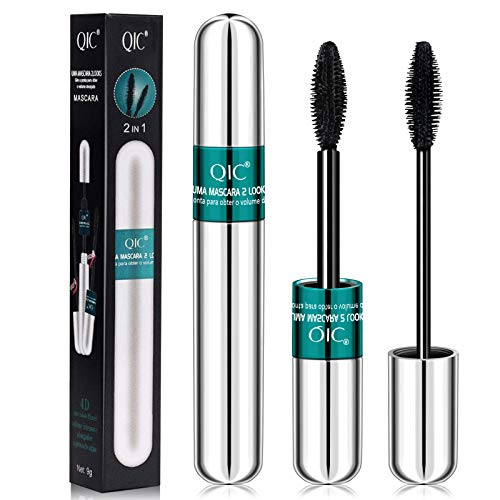2 in 1 Double High Effect Wimpern Wimperntusche Mascara - 4D Seidenfaser Wimpernschwarze...