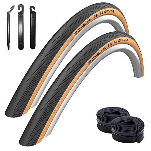 maxxi4you Angebots - Set 2 x Schwalbe Lugano 2 Rennradreifen Classic Skin 25-622 + 2 x Schläuche SV15 inkl. 3 Reifenheber