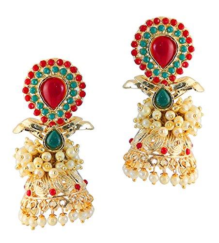 Touchstone India perlas de imitación de bollywood rubí y joyas de diseño pendientes jhumki para mujer Multicolor