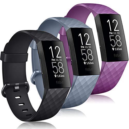 Yandu 3 Correas Compatibles con Fitbit Charge 3/ Fitbit Charge 4, Correa de Repuesto Ajustable, Accesorio Deportivo Correa para Fitbit Charge 3/ Charge 4 (03Negro,Gris Azul,Púrpura, Small)