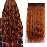 iLUU 24' 110g Long Corn Wave #119 Copper Red Fashion Color Clip on Hair Extensions Heat-resisting Fiber Synthetic Hair Pieces Deep Wave Clip in Hair Extensions for Party