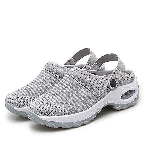 GGDL Zapatos Casuales y Transpirables para Mujer con cojín de Aire, Zapatos de jardín con cojín de Aire y Plataforma de Verano, Sandalias de Malla, Sandalias ortopédicas para Caminar Gray 41