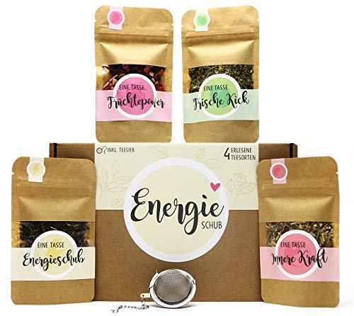 Energieschub Tee Geschenk-Box mit 4 verschiedene Sorten Tee und Tee-Ei Geschenkidee für mehr Energie