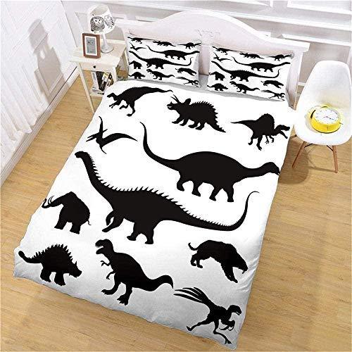 Juegos de fundas nórdicas Estampado de dinosaurios en blanco y negro Juegos de fundas nórdicas Kingsize blancas Juegos de fundas nórdicas Kingsize grises Impresión 3D en HD-ropa de cama para niños adu