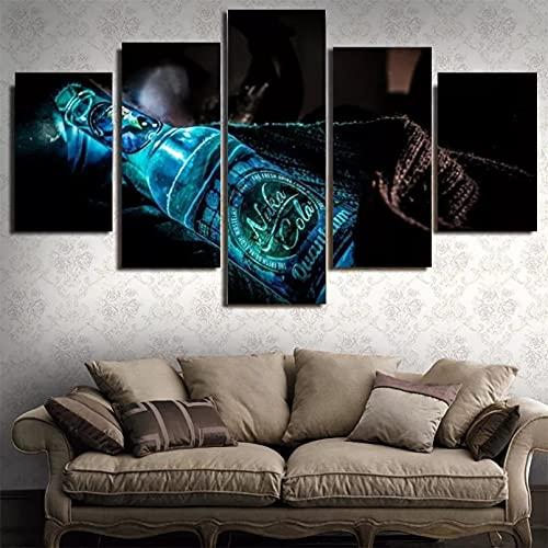 5 piezas de pintura de botellas de vino de alta definición, póster de impresión artística, decoración del hogar, pared de la sala de estar, 150 cm × 80 cm, enmarcado