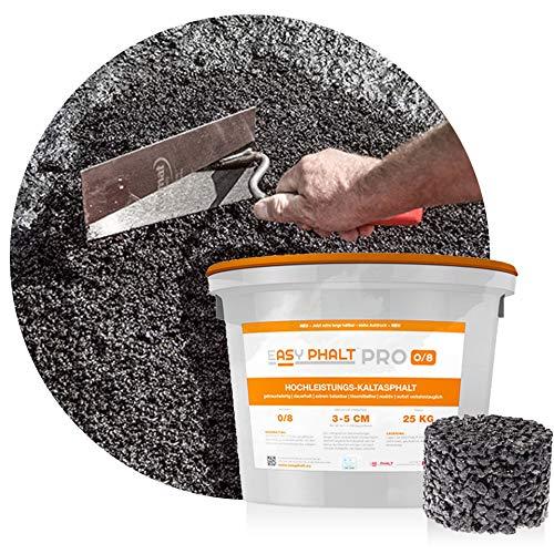 reaktiver Hochleistungs- Kaltasphalt EASYPHALT PRO, Körnung 0-8 mm, 25 kg im wiederverschließbaren Eimer, Reparaturasphalt