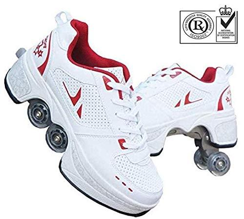 FLY FLU Schuhe Mit Rollen Skateboardschuhe,Inline-Skate,2-in-1-Mehrzweckschuhe,Verstellbare Quad-Rollschuh-Stiefel-Männliche Und Weibliche Paare 35-43EU,Red-42