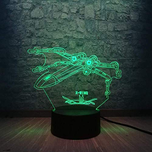 Boutiquespace Lámpara de ilusión 3D Led Luz de Noche Llegada Star Wars X Wing Alliance Dormitorio Decoración de Navidad 7 Colores Cambiantes Creativos Regalos de Niños Juguetes
