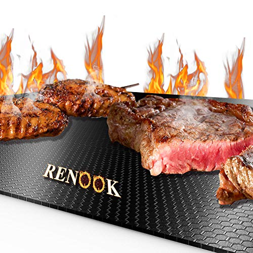 RENOOK Grill Mat, Heavy Duty 600 Degree Non Stick BBQ Mats, Easy To Clean & Reusable, Gas Charcoal Electric Griling Accessories, Best For Outdoor Barbecue Baking and Oven Liner, Set Of 2, 20 x 17-Inch Floor Grill Mats Pads