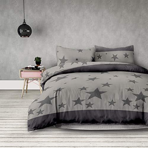 3tlg Bettwäsche 160x200 cm mit 2 Kissenbezügen 70x80 cm Sterne Microfaser Reißverschluss grau anthrazit