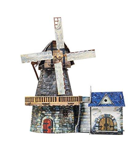 Umbum 27320x 14x 19cm Clever Papier Mittelalter Town Windmühle 3D Puzzle