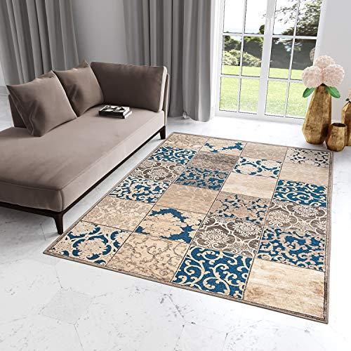 Tapiso Bohemian Teppich Vintage Kurzflor Floral Ornament Mosaik Designer Muster Braun Blau Gold Wohnzimmer ÖKOTEX 160 x 230 cm