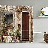 Cortina de ducha Persianas Plantas de maceta en el patio delantero French Hilltop Village Saint-Paul De Vence Heritage Cortinas de baño impermeables Ganchos incluidos - Ideas decorativas para el baño