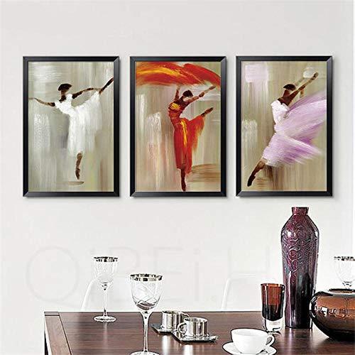 WKHRD Bailarina de Ballet Pintura de Figura Abstracta Pintura Decorativa Minimalista Moderna Tríptico de Sala de Estar Sofá de Porche de Estilo nórdico | 30x45cmx3 (Sin Marco)