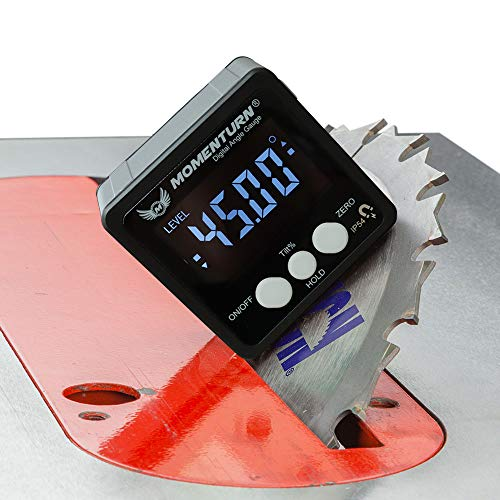 Momenturn Level Box Miter Gauge -Digital Readout Angle Finder Tool -Mini Table Saw Stand Accessories -Magnetic Protractor Cube -Woodworking, Bevel, Carpenters Square, Machinist, Fence Inclinometer