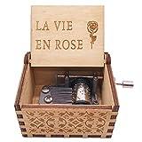 La Vie En Rose Music Box - Caja de música (18 notas), diseño de manivela de madera, color rosa