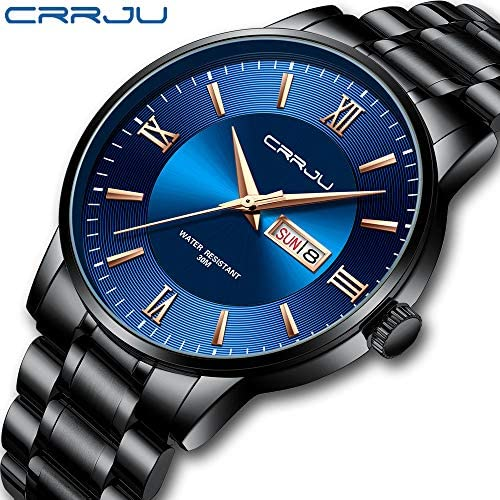 CRRJU Men's Minimalist Casual Luxury Auto Date Watches Fashion Business Japan Movement Quartz Waterproof Wristwatches for Men,Silver Stainless Steel Band Watch WeeklyReviewer