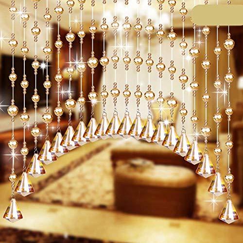 ZXL gordijnen met parels in de vorm van een boog van glas voor deur, woonkamer, kamerverdeler, moderne decoratie (kleur: A, grootte: 55 draden-200 x 120 cm)