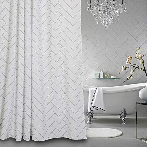 Aimjerry Hotel Quality White Striped Fabric Shower Curtain...