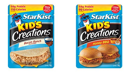 Starkist Kids Creations Tuna Bundle of 2.6 oz packets: 6 of Honey BBQ and 6 of Bacon Ranch