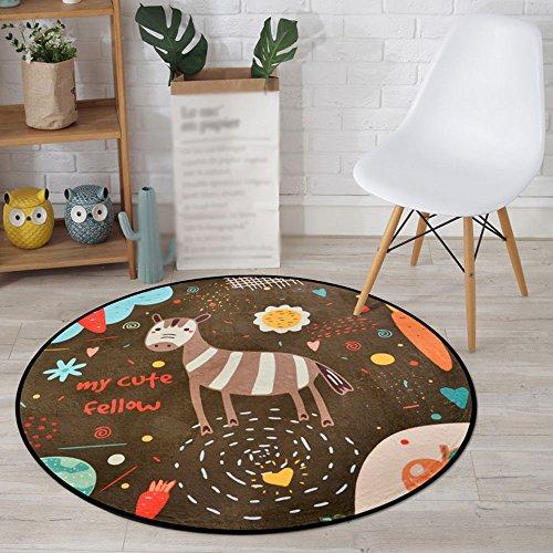 NAN&Carpettes Tapis de porte optionnel de taille résistante à l'usure de polyester d'enfant rond de tapis Durable (MODÈLE : 1, taille : 120cm)