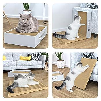Aibuddy Griffoirs pour Chats, 3 Pièces Carton à Gratter pour Chat, Chat Planche Carton Ondulé Jouets à l'herbe à Chat avec Boîte, 44 x 28 x 10 cm