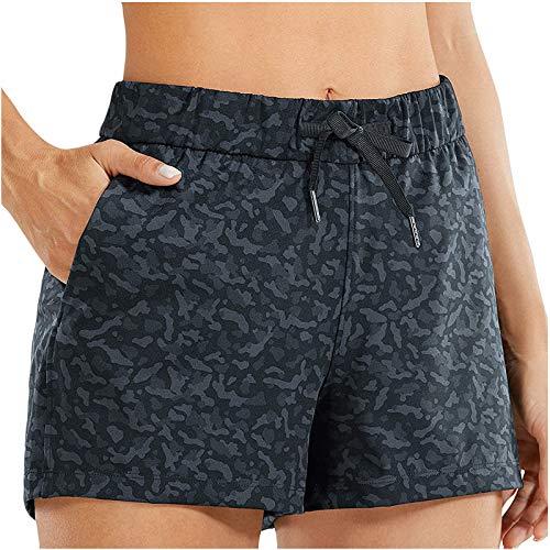 Winkey - Pantalones cortos de deporte para mujer con bolsillos, cintura holgada, para yoga Azul marino. M