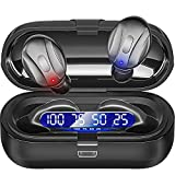 Earbuds Bluetooth 5.0 Mini Headphones, Hi-Fi Stereo in-Ear Earphones with 350Mah Charging Case, Touch Control, IPX5 Waterproof Headset with LED Display Built-in Mic