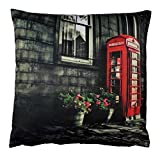 Haus und Deko Kissenbezug 45x45 cm Red Telephone Box UK England London Telefonzelle Zierkissen...