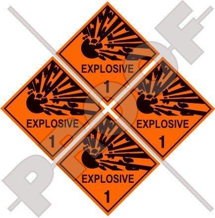 EXPLOSIV Explosionsgefahr Warnsicherheitsschild 50mm Auto & Motorrad Aufkleber, x4 Vinyl Sticker