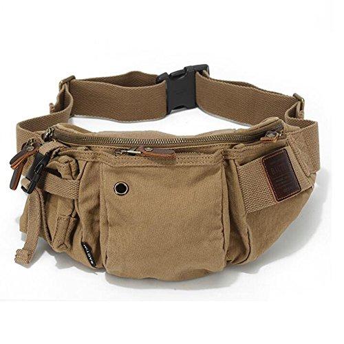 HQ Taille Paket Leinwand Herren Brusttasche Banana Bag Outdoor Sports Casual Umhängetasche (Farbe : Khaki)