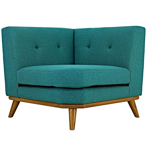 Modway Engage Mid-Century Modern Upholstered Fabric Corner Sofa in Teal