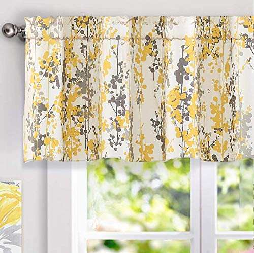 """DriftAway Leah Abstract Floral Blossom Ink Painting Window Curtain Valance (Yellow/Silver/Gray, 52""""x18""""+2"""" Header)"""