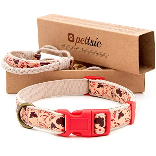 Pettsie Matching Dog Collar and Owner Friendship Bracelet, Adjustable Size Small and Medium, Durable, Pet-Friendly Hemp with Fancy Pattern, Comfortable, Strong, Gift Box Included